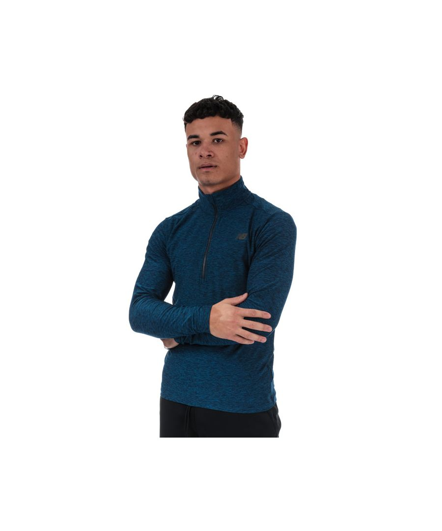 Image for Men's New Balance Core Space Dye Quarter Zip Top in Blue