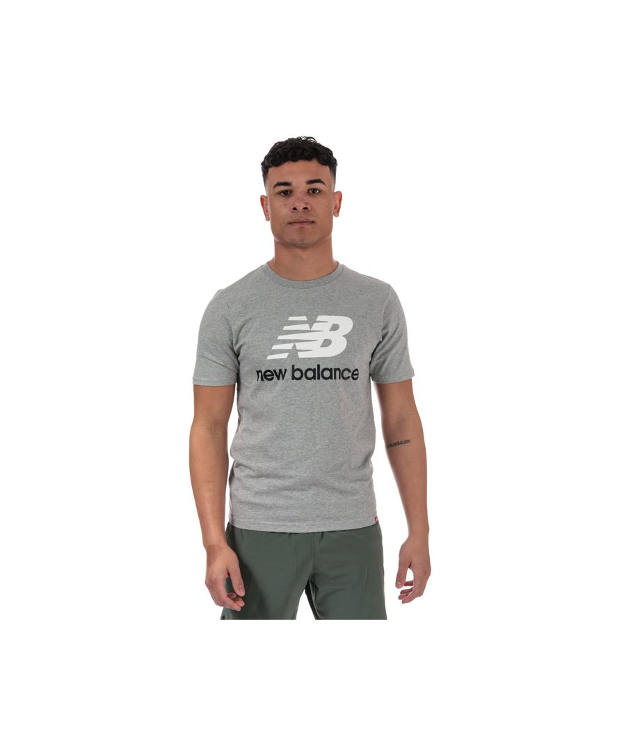 Image for Men's New Balance Essentials Stacked Logo T-Shirt in Grey Marl