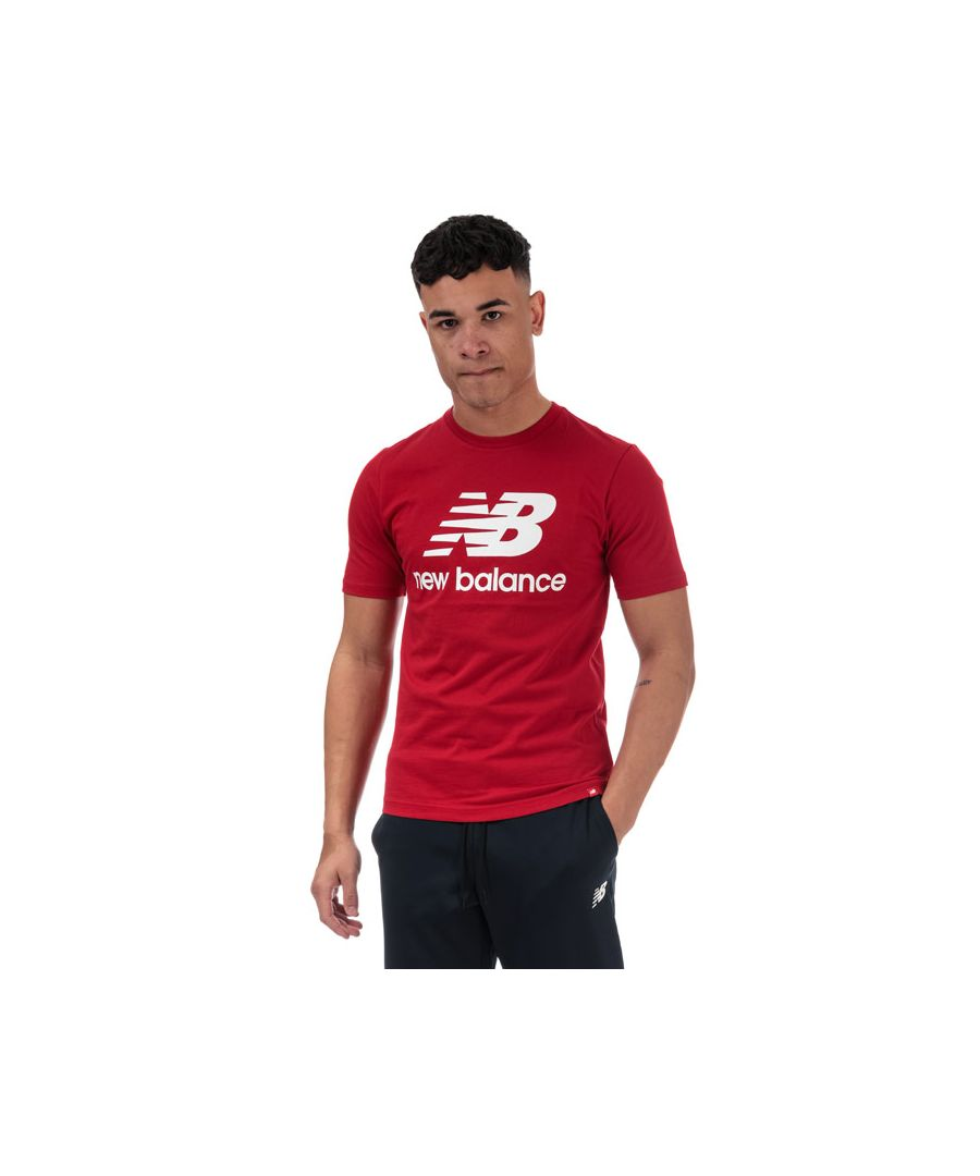 Image for Men's New Balance Essentials Stacked Logo T-Shirt in Red