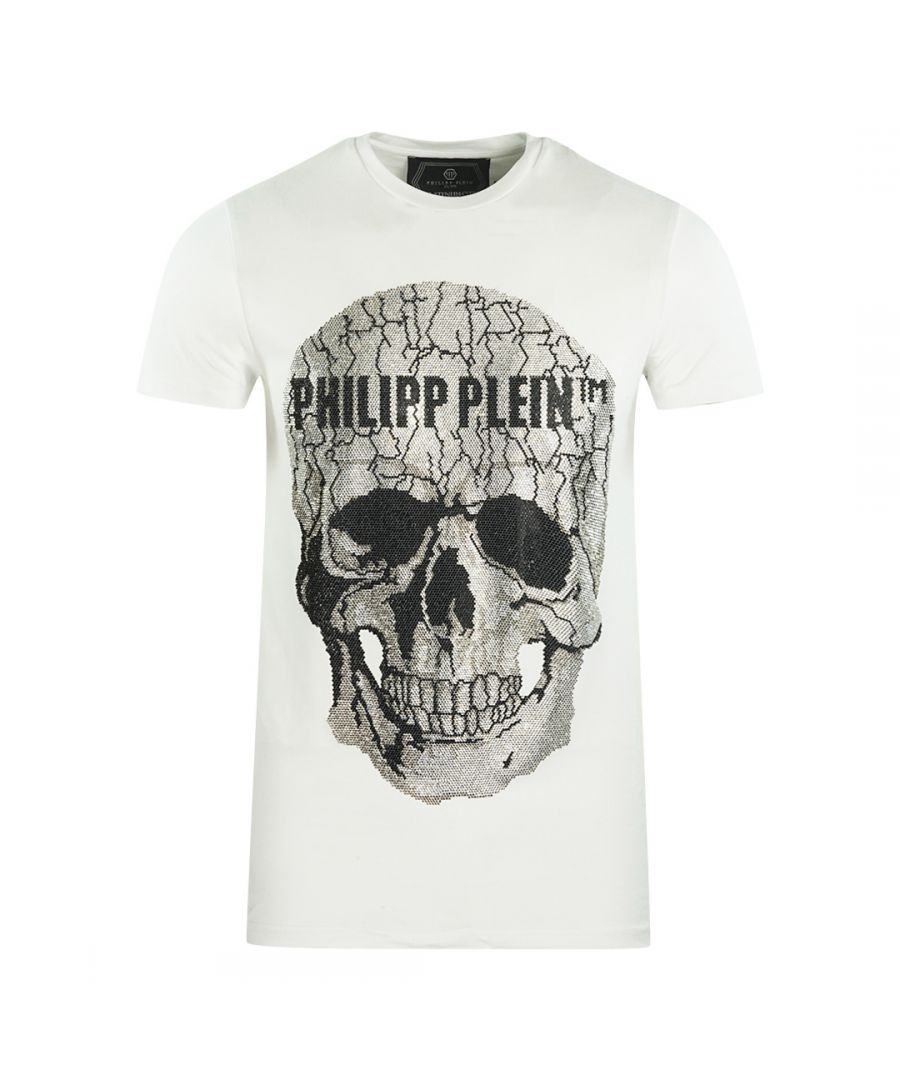 Image for Philipp Plein Large Cracked Skull Logo White T-Shirt