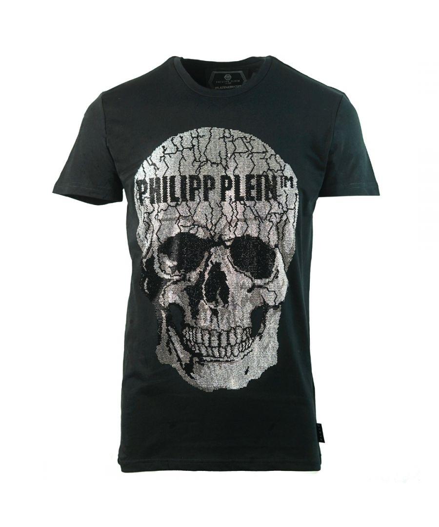 Image for Philipp Plein Large Cracked Skull Logo Black T-Shirt