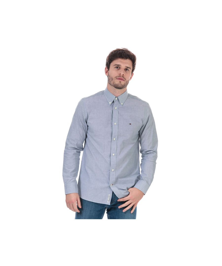 Image for Men's Tommy Hilfiger Soft Touch Pure Cotton Dobby Shirt in Blue