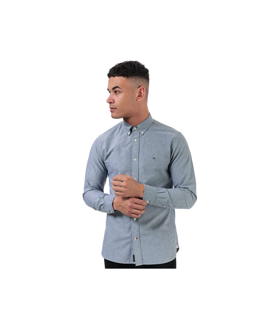 Image for Men's Tommy Hilfiger Contrast Trim Organic Cotton Shirt in Navy