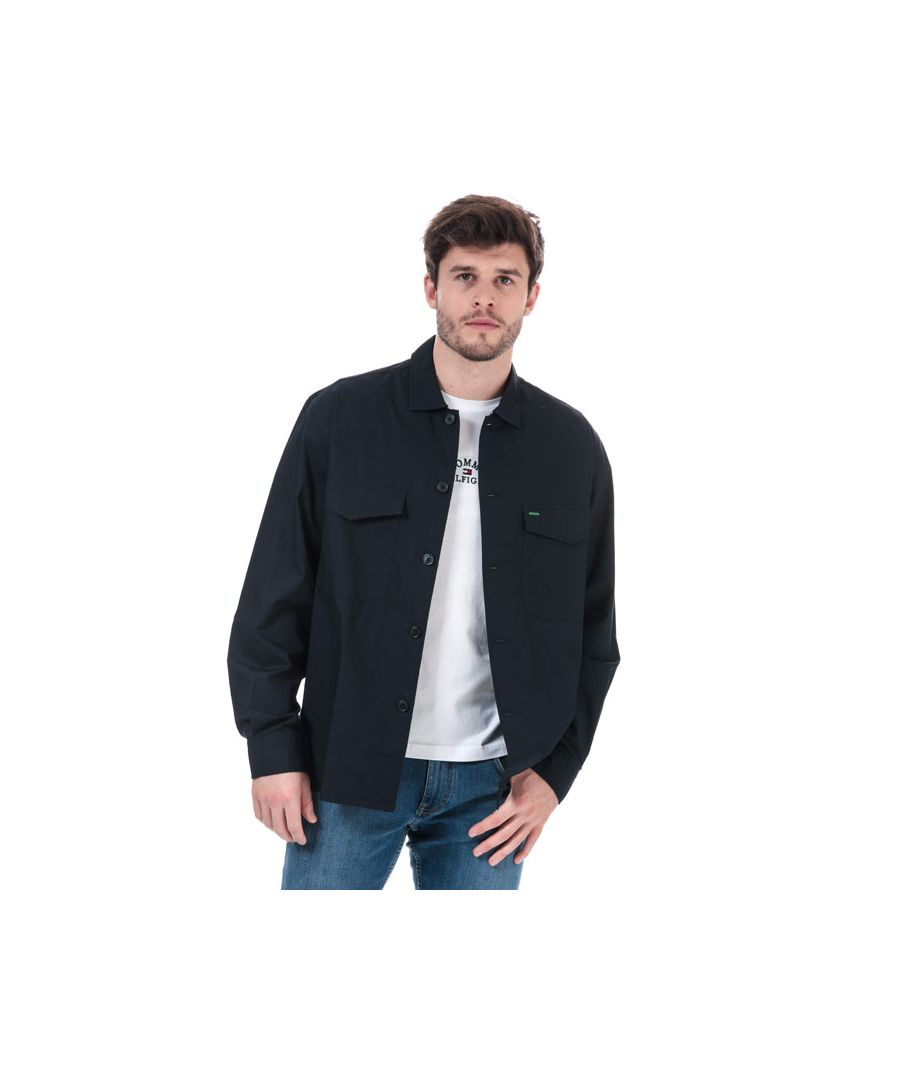 Image for Tommy Hilfiger Men's Military Style Pure Cotton Shirt in Navy