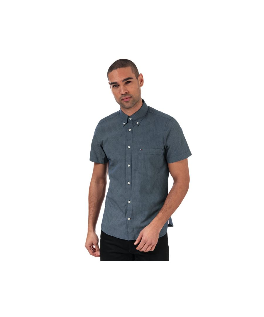 Image for Men's Tommy Hilfiger Slim Small Dot Short Sleeve Shirt in Blue-White