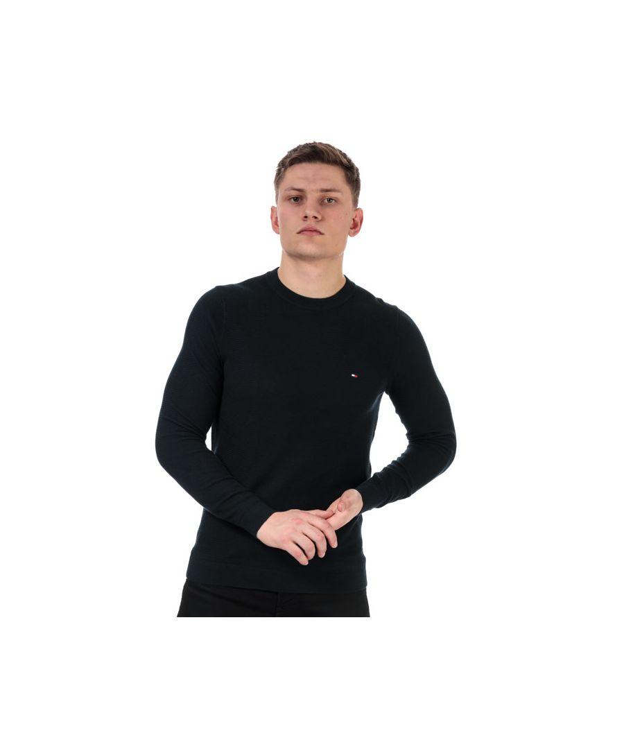 Image for Men's Tommy Hilfiger Zig Zag Structured Jumper in Navy