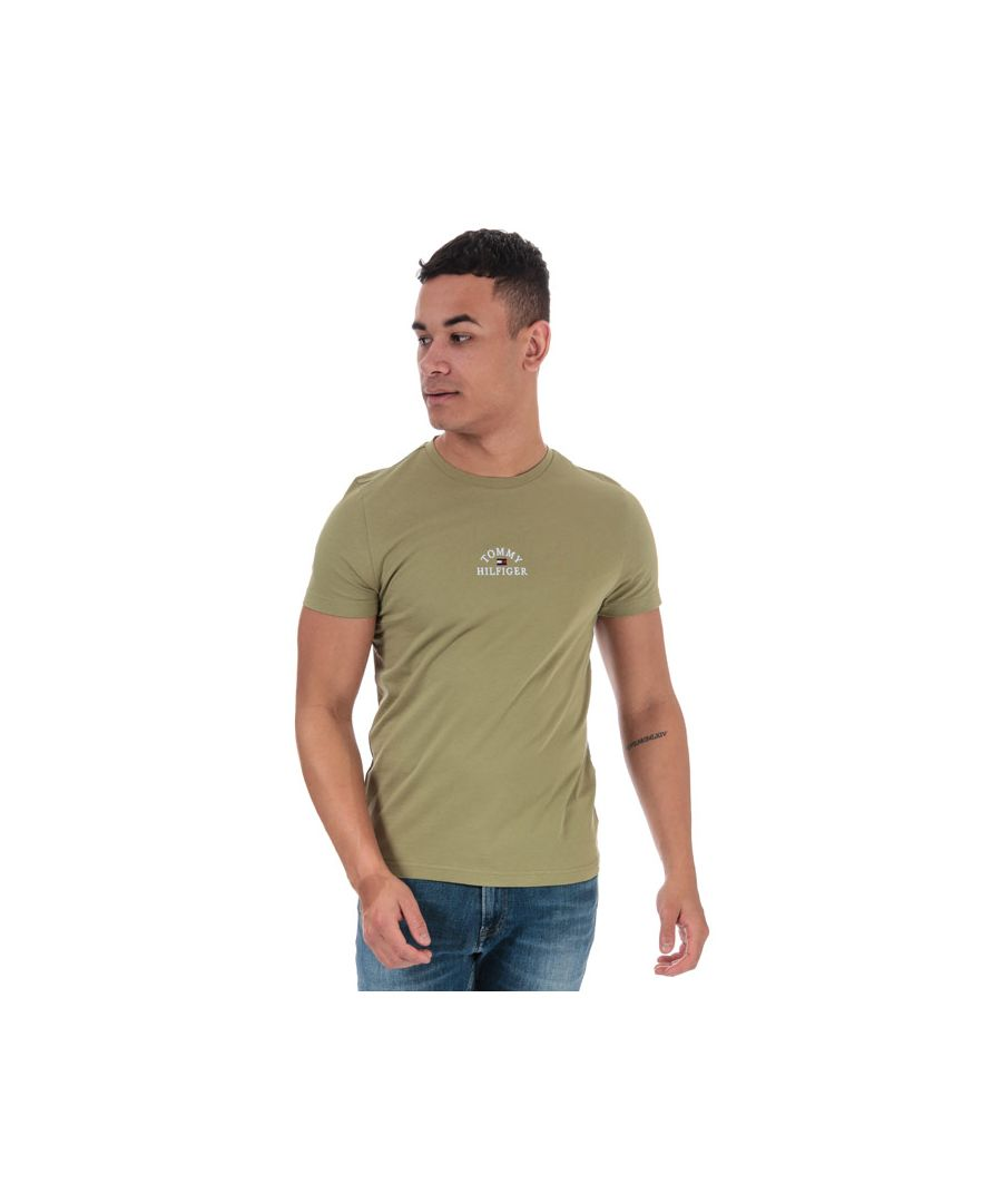 Image for Men's Tommy Hilfiger Organic Cotton Arch Logo T-Shirt in olive
