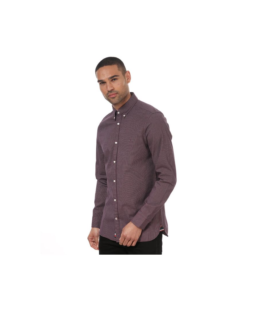 Image for Men's Tommy Hilfiger Slim Textured Dobby Shirt Red Sin Red