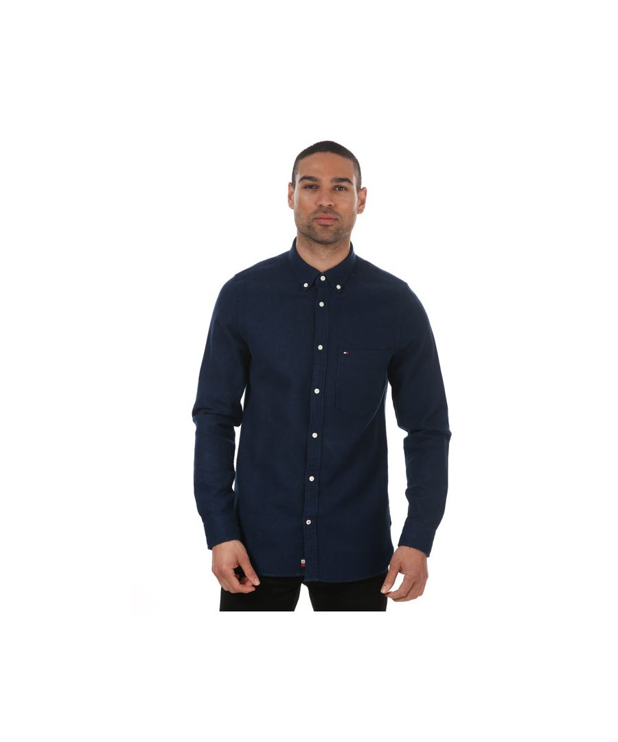 Image for Men's Tommy Hilfiger Doubleface Herringbone Shirt Navy Sin Navy