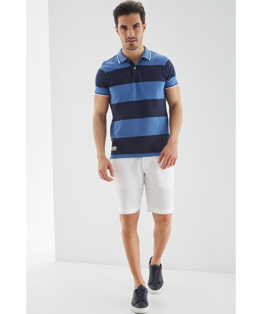 Image for Men s Striped Piquet Polo Shirt