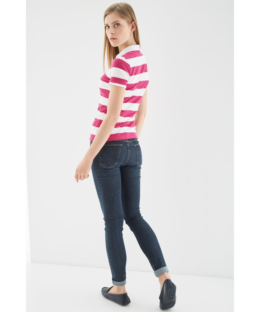 Image for Women s Striped Piquet Polo