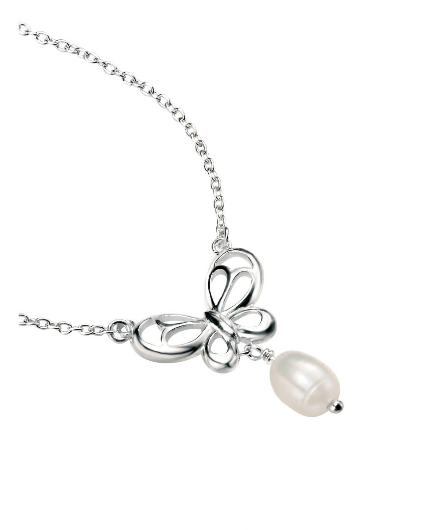 Image for Elements Sterling Silver Women's N3535W Butterfly Necklace with Freshwater Pearl Drop Length 46cm