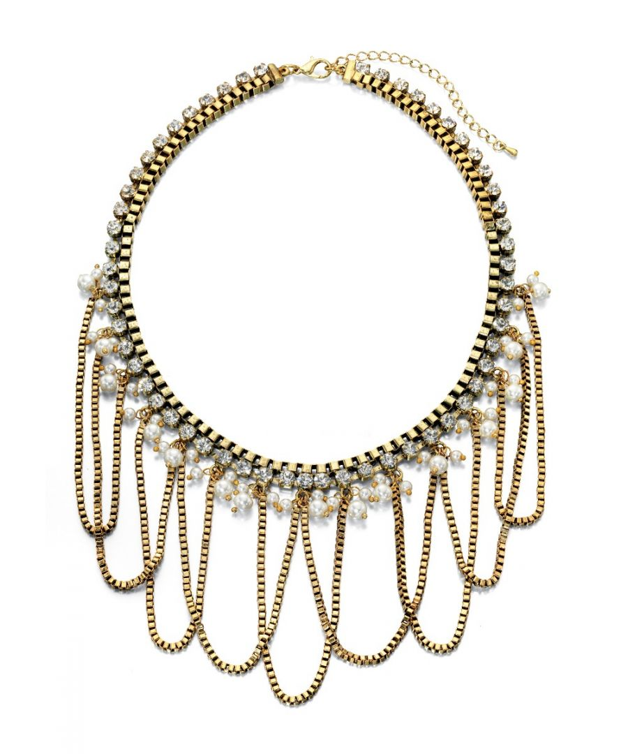Image for Fiorelli Fashion Worn Gold Plated Chain, Crystal & Pearl Draped Statement Necklace 47cm + 8cm