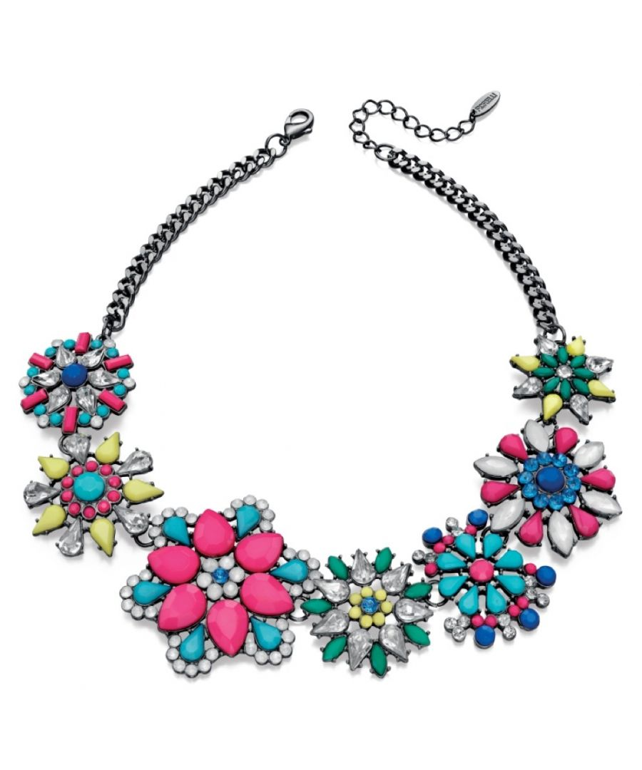 Image for Fiorelli Fashion Gunmetal Plated Multicolour Statement Flower Necklace 41cm + 9cm