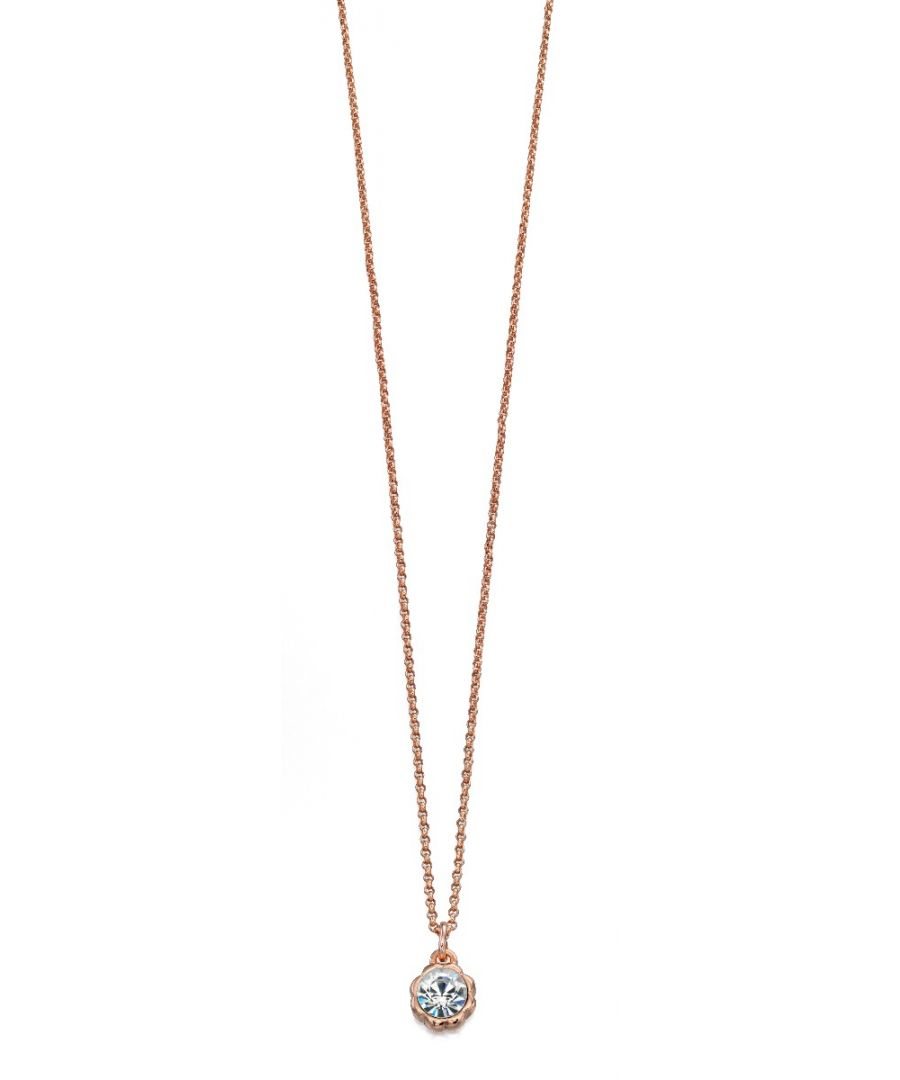 Image for Fiorelli Fashion Rose Gold Plated Crystal by Swarovski Flower Pendant Necklace 40cm + 5cm
