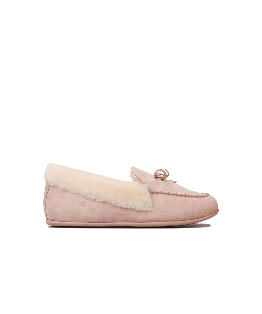 Image for Women's Fit Flop Clara Shearling Moccasin Slippers in Nude