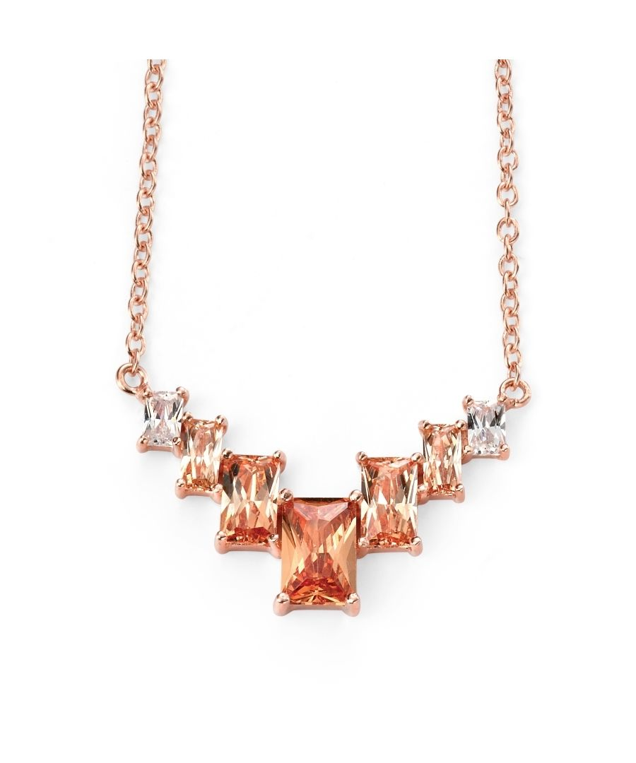 Image for Elements Silver Sterling Silver Rose Gold Plate Geometric Necklace with Champagne/Clear CZ of Length 42-45cm