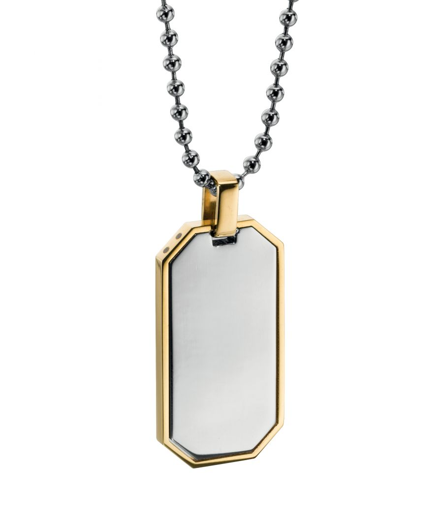 Image for Fred Bennett Stainless Steel Octagonal Dog Tag Pendant Necklace with Gold PVD Plate of Length 60cm