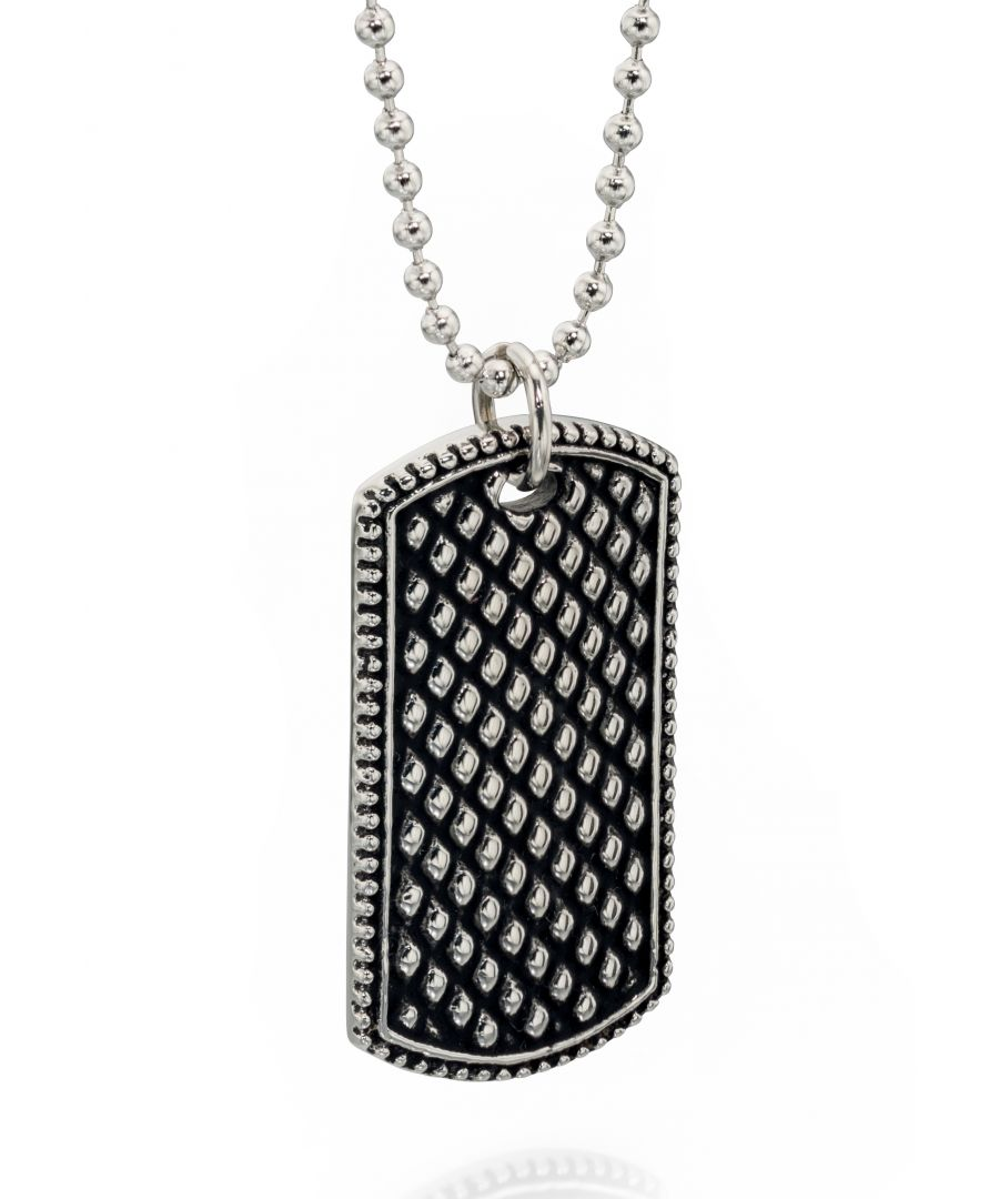 Image for Fred Bennett Stainless Steel Oxidized Textured Dog Tag Pendant Necklace of Length 55cm