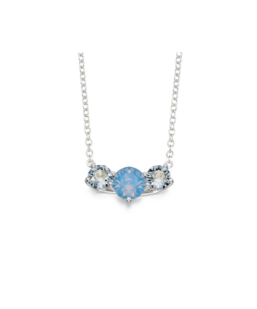 Image for Elements Silver Women's Air Blue Opal and Denim Blue Crystal by Swarovski Sterling Silver Necklace of Length 41-46cm