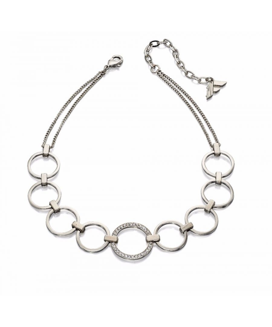 Image for Fiorelli Fashion Imitation Rhodium Plated Open Circle Pave Crystal Choker Necklace 28cm + 6cm