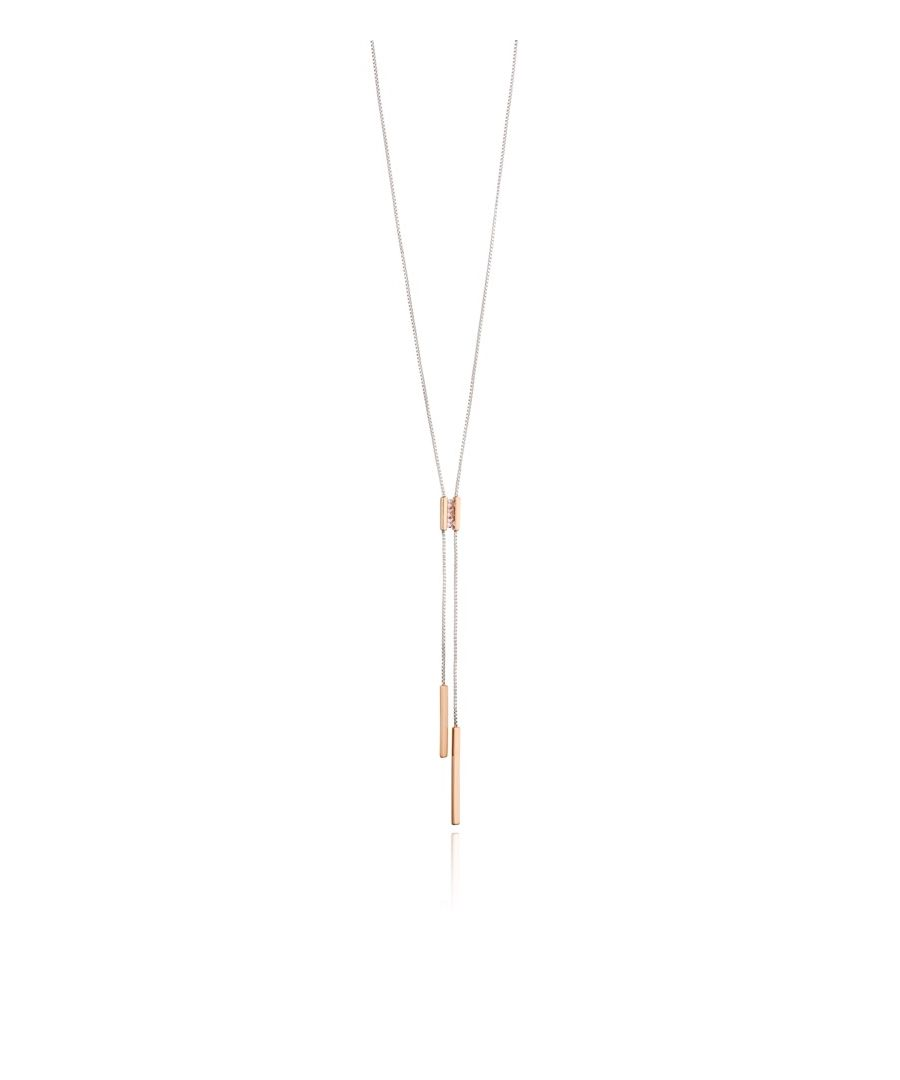 Image for Fiorelli Silver Womens 925 Sterling Silver Pink Nano Crystal & Rose Gold Plate Y Shaped Lariat Necklace of Length 46cm + 5cm