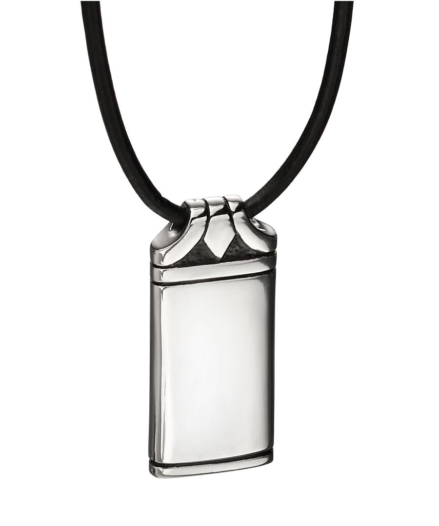 Image for Fred Bennett Mens Black Leather & Stainless Steel Dog Tag Pendant Necklace of Length 50cm N4150