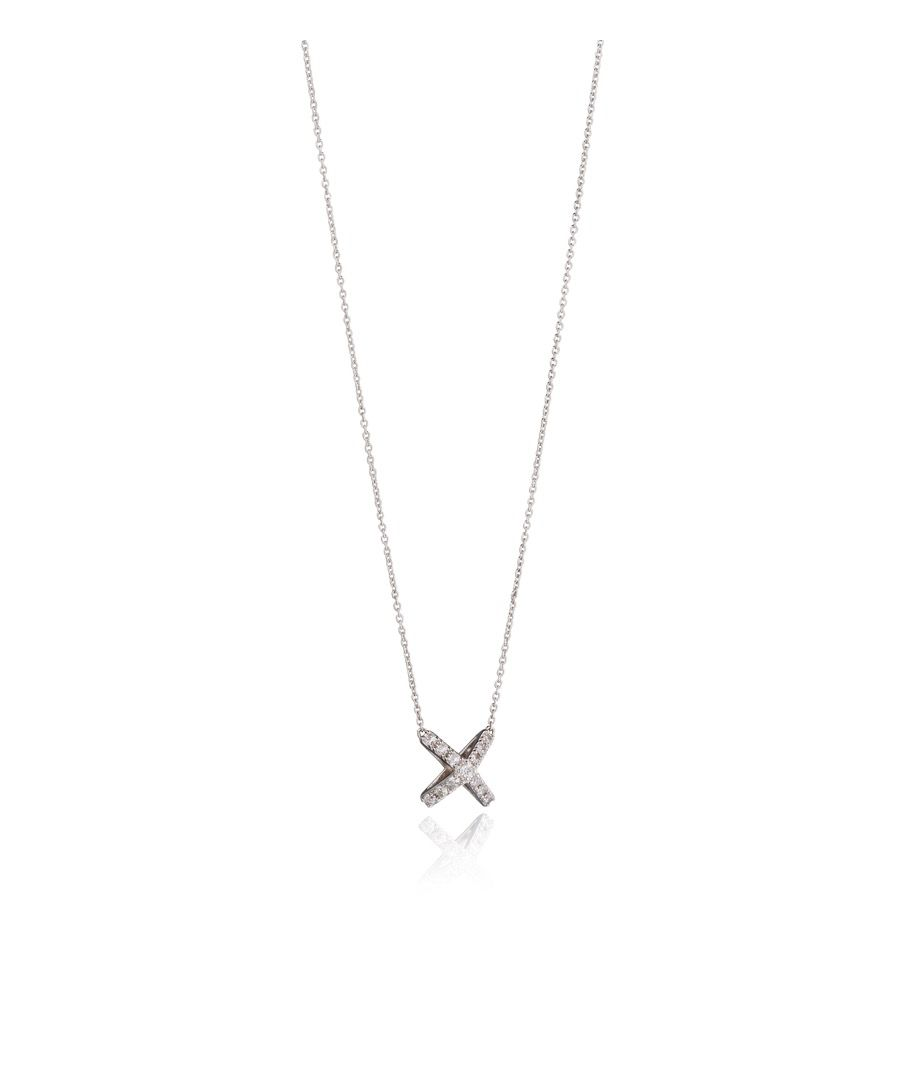 Image for Fiorelli Silver Womens 925 Sterling Silver 3D Cubic Zirconia Cross / X Shape Necklace of Length 41cm + 5cm