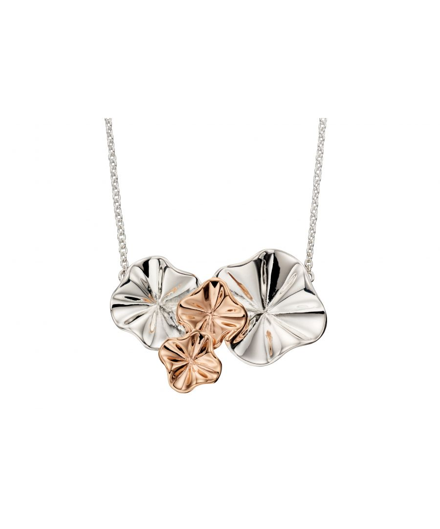 Image for Elements Silver Womens 925 Sterling Silver & Rose Gold Plate Ruffle Flower Necklace of Length 46cm N4173