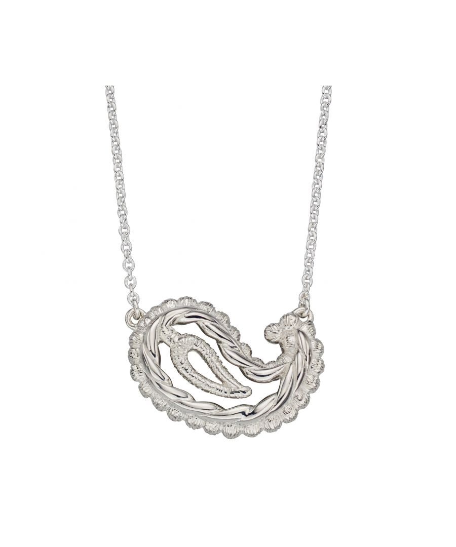 Image for Elements Silver Womens 925 Sterling Silver Paisley Necklace of Length 46cm N4183