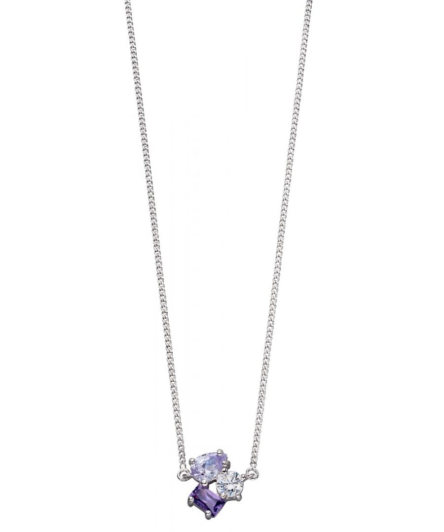Image for Fiorelli Silver Womens 925 Sterling Silver Purple & Lilac Cubic Zirconia Multi Shape Choker Necklace of Length 33cm + 8cm