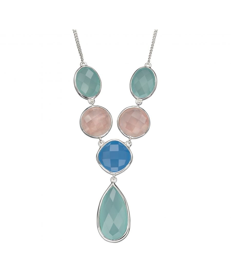 Image for Elements Silver Womens 925 Sterling Silver Blue Chalcedony & Rose Quartz Statement Necklace of Length 46cm N4296
