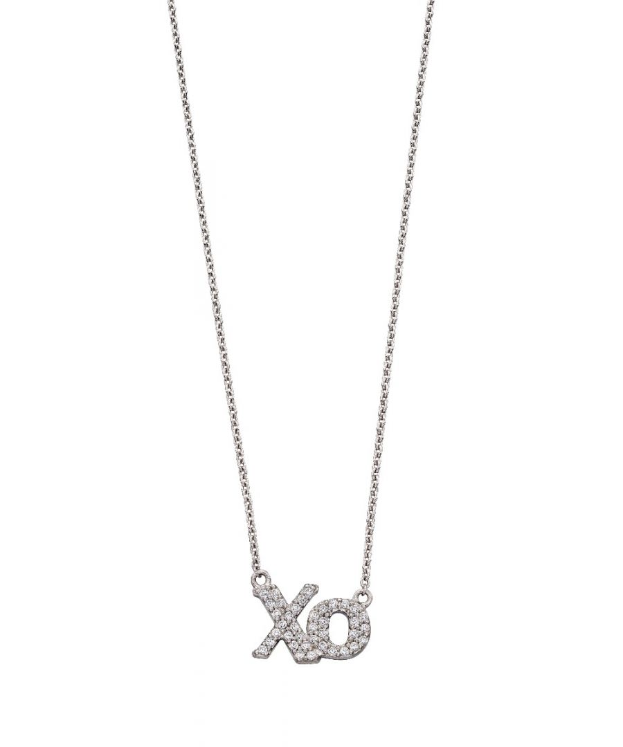 Image for Fiorelli Silver Womens 925 Sterling Silver Cubic Zirconia Xo Symbol Necklace of Length 40cm + 5cm