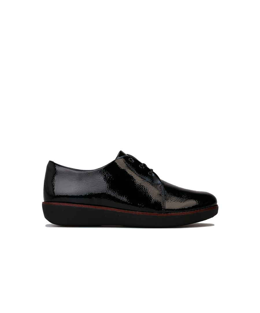 Image for Women's Fit Flop Derby Crinkle Patent Shoes in Black