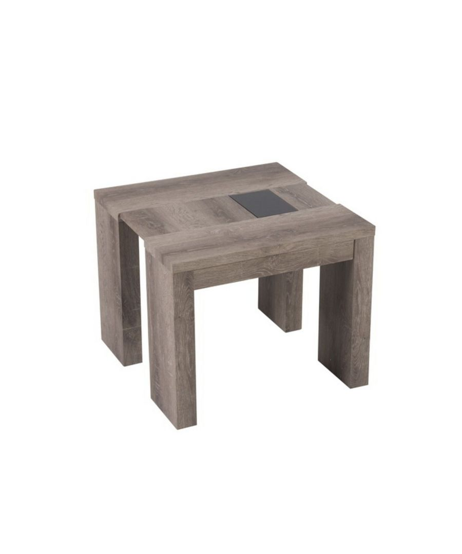 Image for Nate Oak Effect End Table with Black Glass Inserts