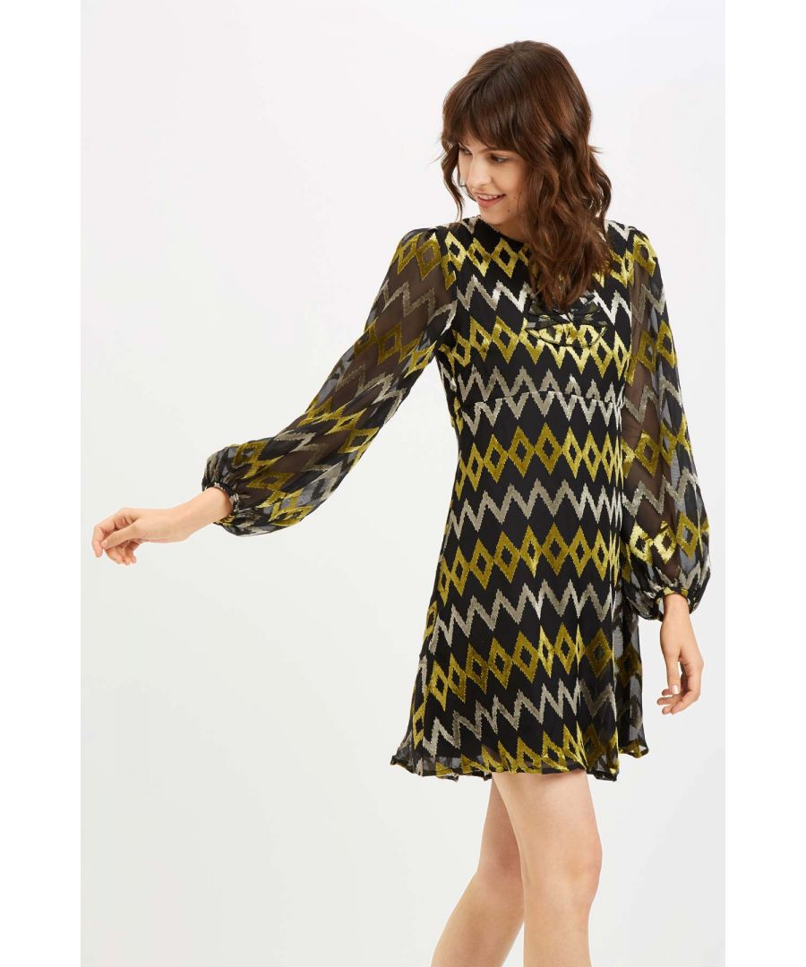 Image for Cascade Frill Long Sleeve Mini Dress in Black