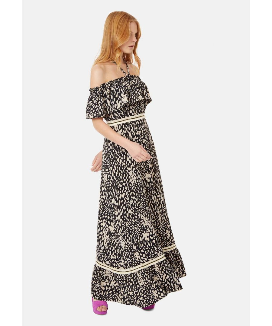 Image for Dancing In The Sun Off The Shoulder Polka Dot Maxi Dress in Black