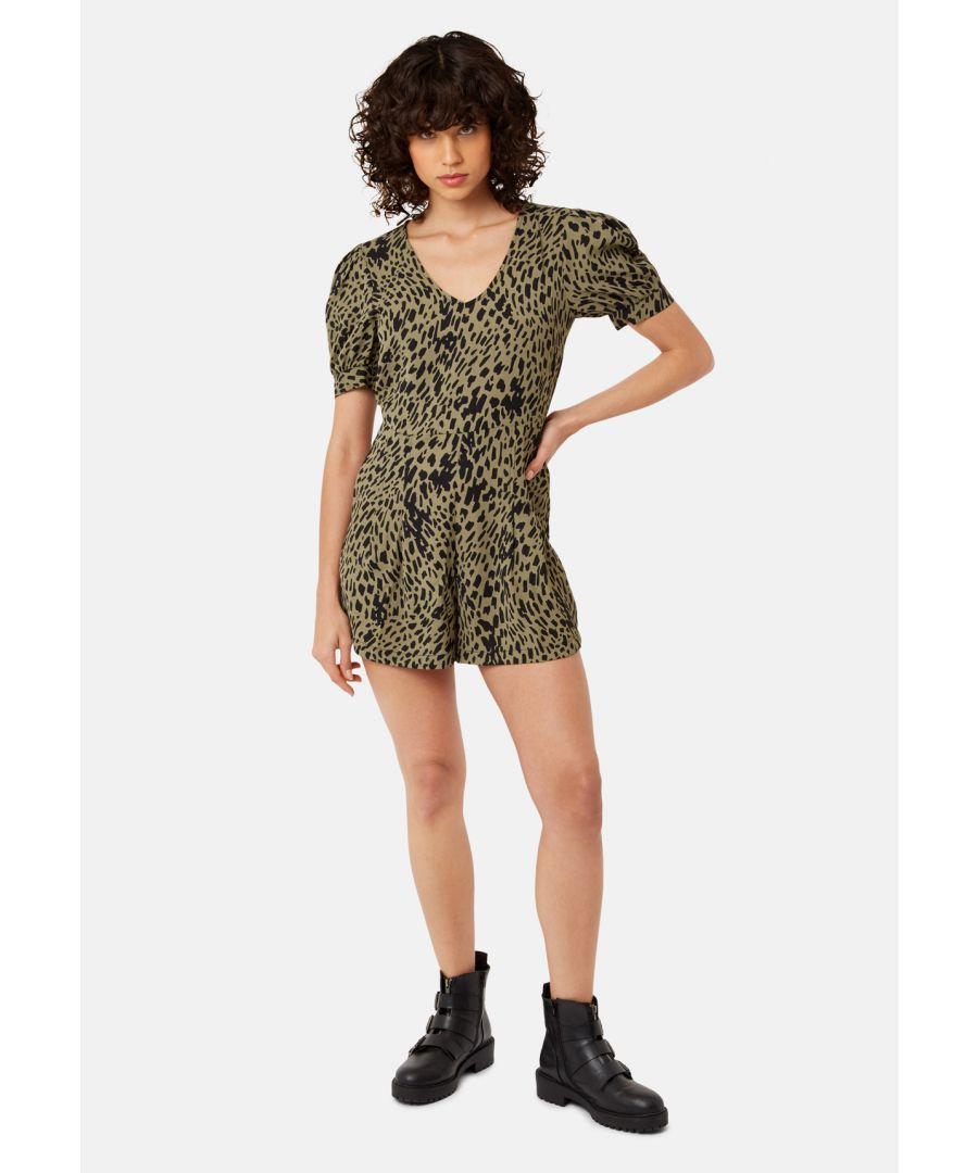 Image for Abstract Polka Dot Shortsleeve Playsuit in Green