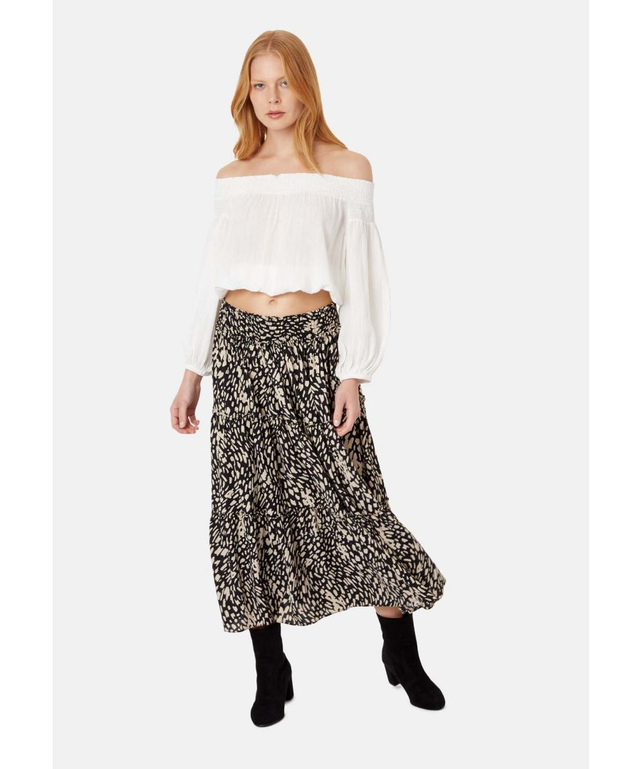 Image for Bells On Her Toes Boho Polka Dot Midi Skirt in Black