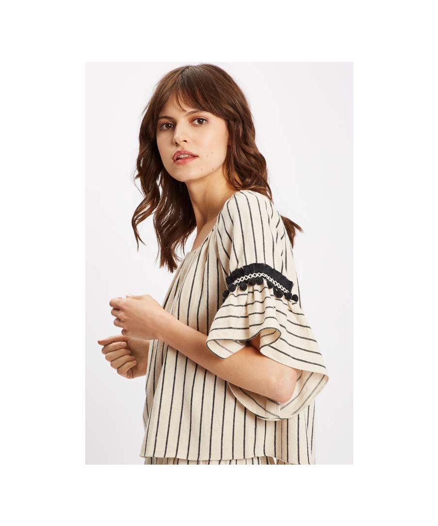 Image for Nervous Stripe Off The Shoulder White Top