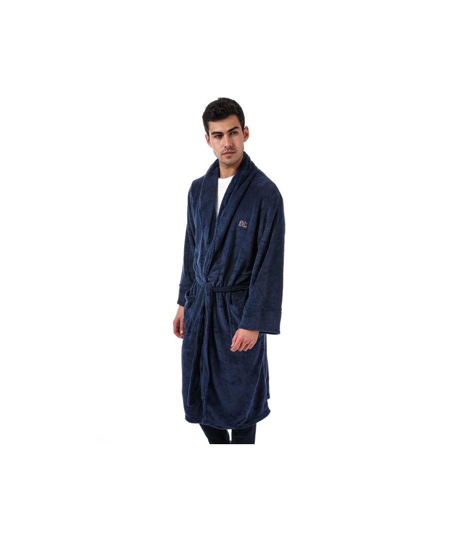 Image for Men's Ben Sherman Henry Fleece Dressing Gown in Navy