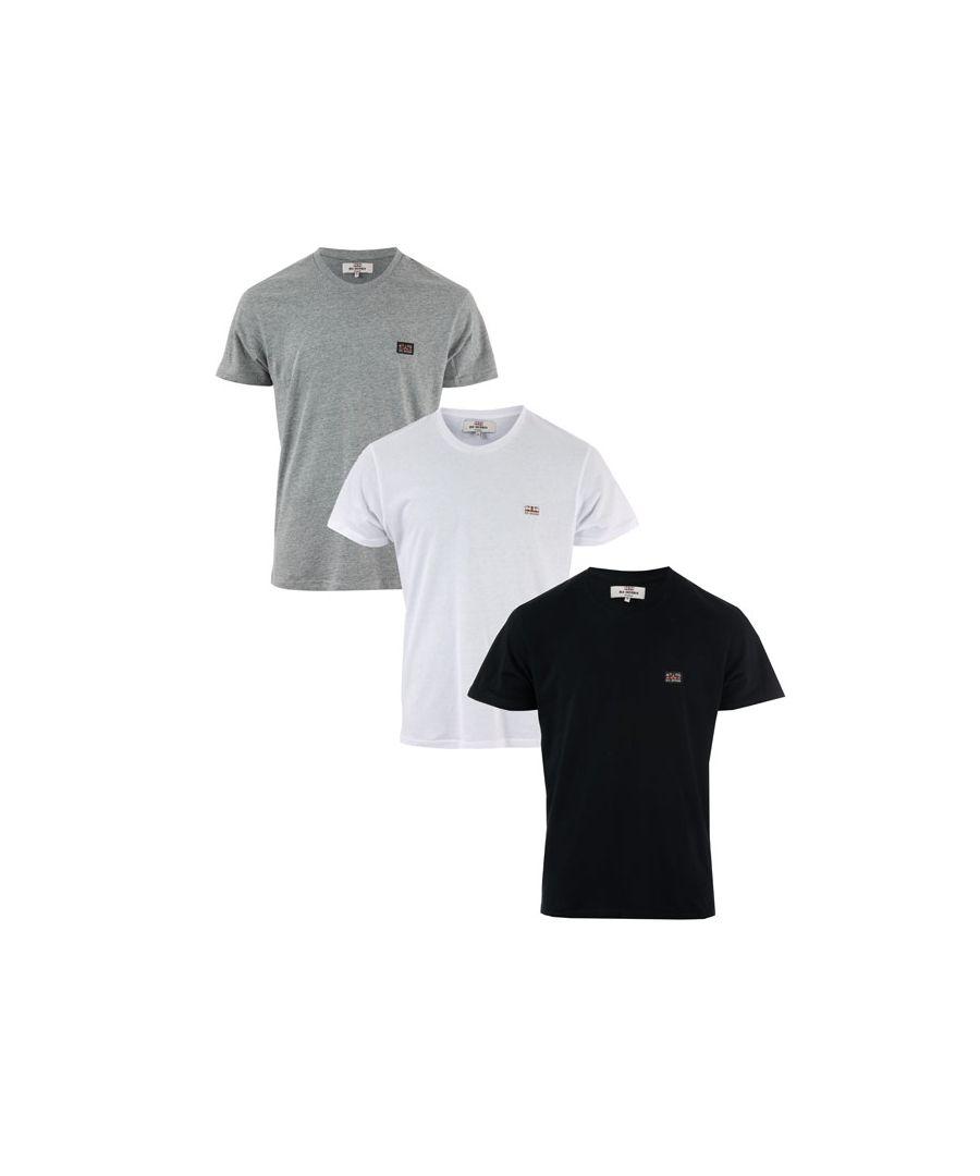Image for Men's Ben Sherman Baxter 3 Pack T-Shirt in Black Grey White