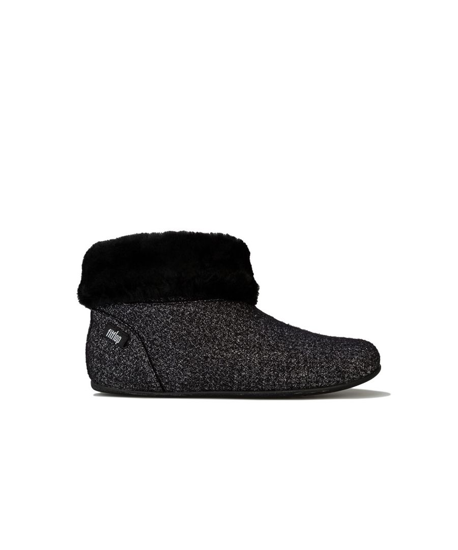 Image for Women's Fit Flop Sarah Shearling Glimmer Bootie Slippers in Black