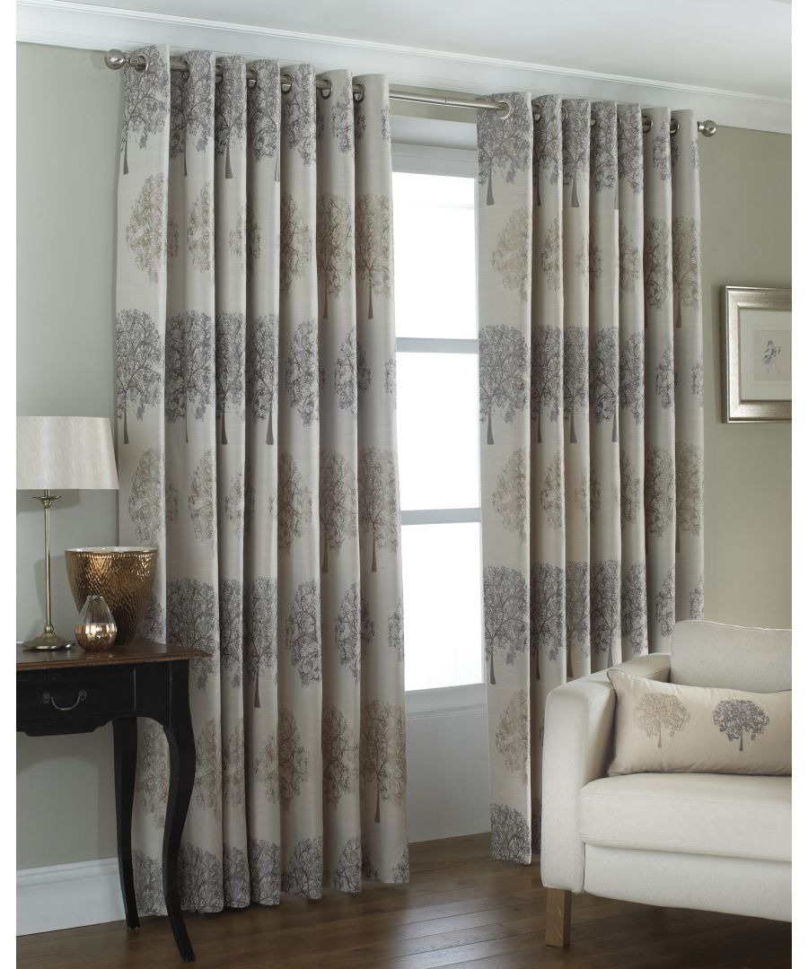Image for Oakdale Tree Motif Eyelet Curtains in Silver
