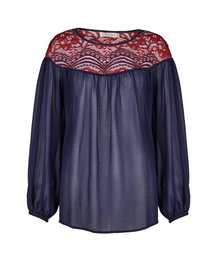 Image for Flare Lace Long Sleeve Top in Navy and Red