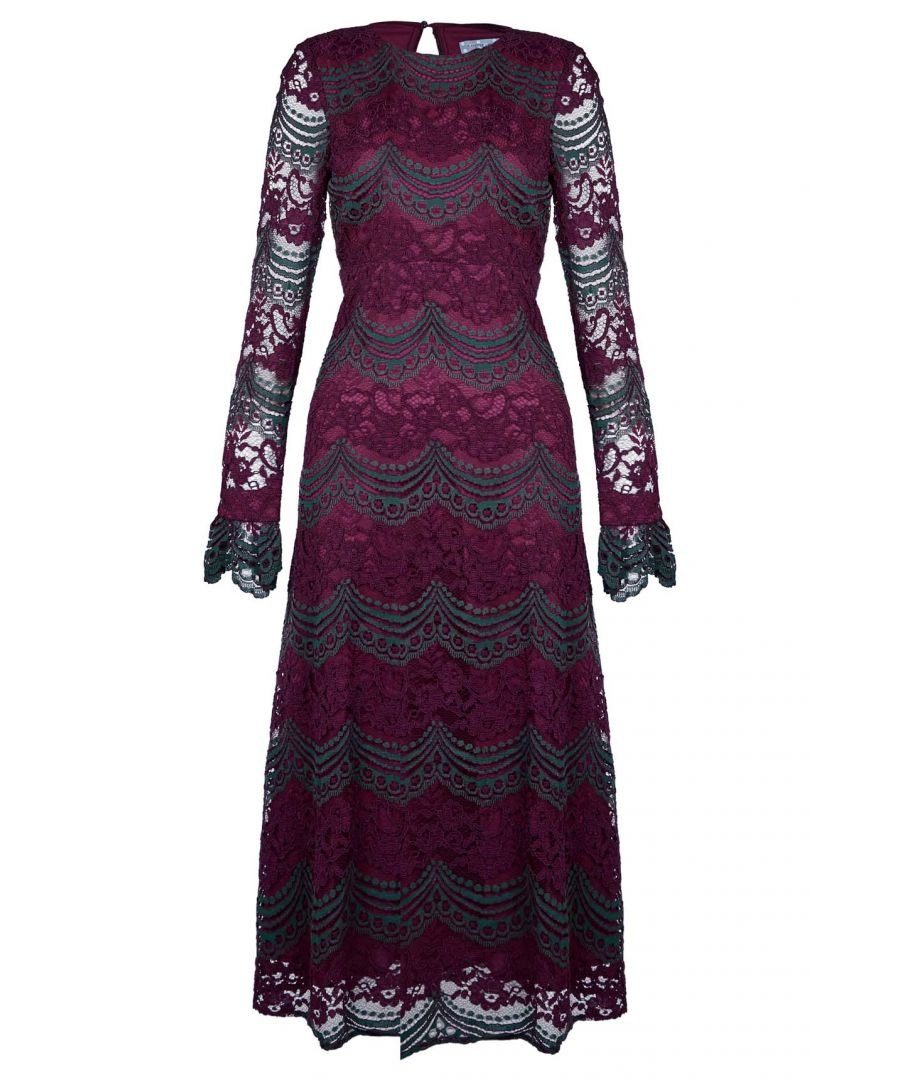 Image for Bountiful Lace Long Sleeve Midi Dress in Maroon and Green