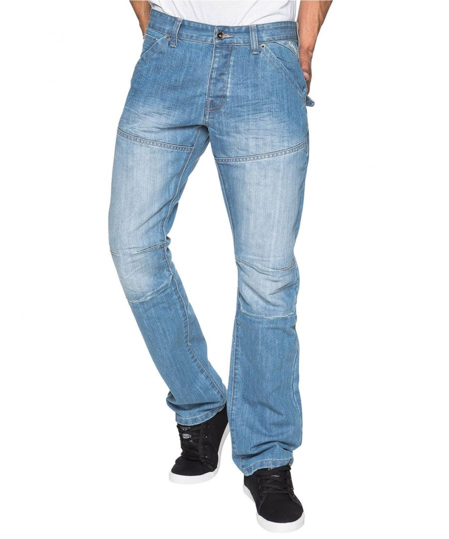 Image for Mens Straight Fit Denim Jeans EZ243 Bleach | Enzo Designer Menswear