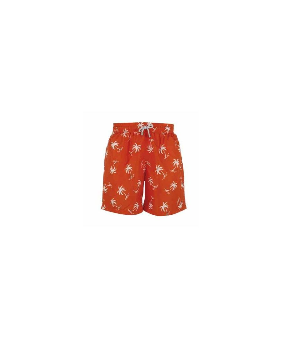 Image for Men's Orange Palm Tree Swim Shorts
