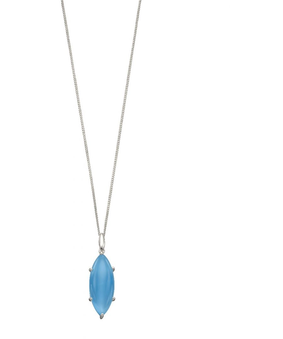 Image for Elements Silver Women Blue Chalcedony Pendant Necklace of Length 46cm P4688T