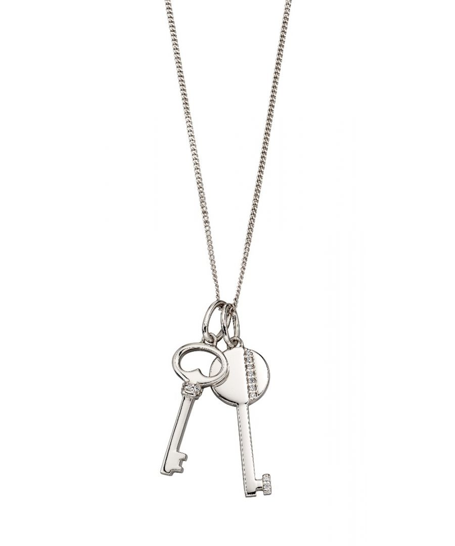 Image for Fiorelli Silver Womens 925 Sterling Silver Cubic Zirconia Key Pendant Necklace of Length 41cm + 5cm